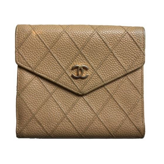 180339ef89b3 Vintage and Musthaves. Chanel beige caviar leather french bifold wallet