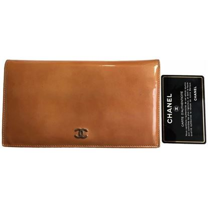 Image of Chanel long orange patent leather wallet
