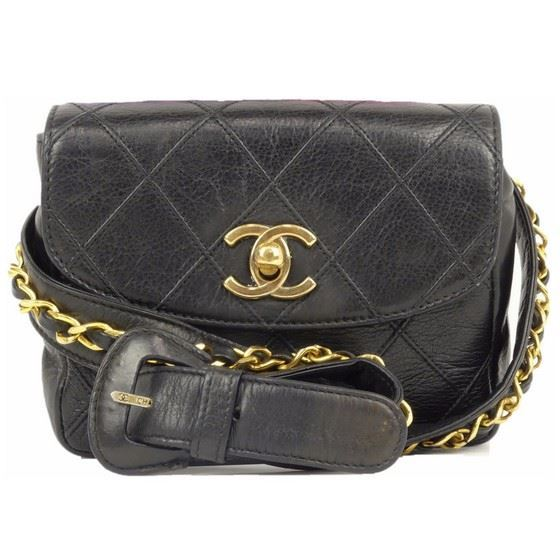 Picture of CHANEL black Lamb Skin  belt bag