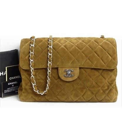 Image of Chanel jumbo brown suede 2.55 timeless crossbody flap bag