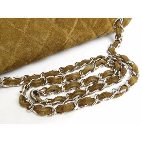 Picture of Chanel jumbo brown suede 2.55 timeless crossbody flap bag