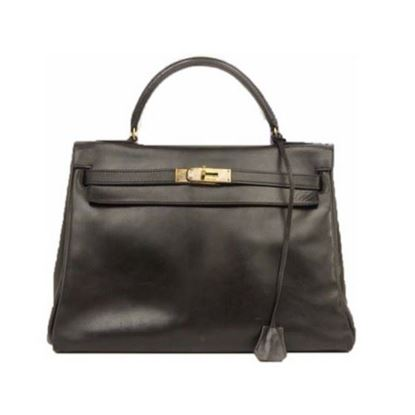 Image of HERMES Vintage Kelly 32 Stitch Black Box Calf Leather bag