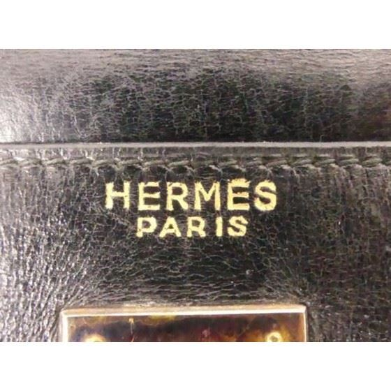 Picture of HERMES Vintage Kelly 32 Stitch Black Box Calf Leather bag