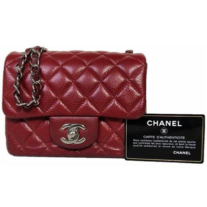 Image of Chanel square mini red burgundy caviar leather bag with silver hardware