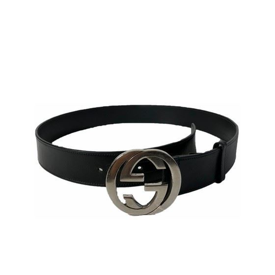 019212006 Picture of Gucci black leather belt with silver interlocking G buckle