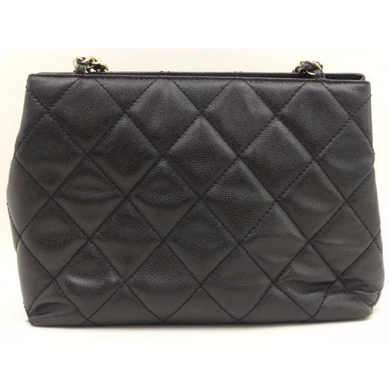 Picture of Chanel black caviar skin turnlock large tote shopper bag