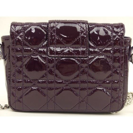 Picture of CHRISTIAN DIOR Miss Dior Purple Cannage Patent Leather crossbody bag.
