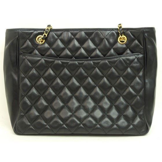 Picture of Chanel black ziptop charm shopper tote bag