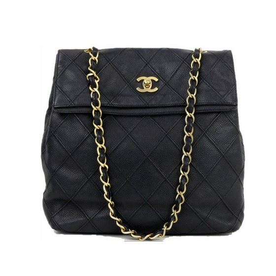 Picture of Chanel black quilted caviar skin turnlock tote shopper bag