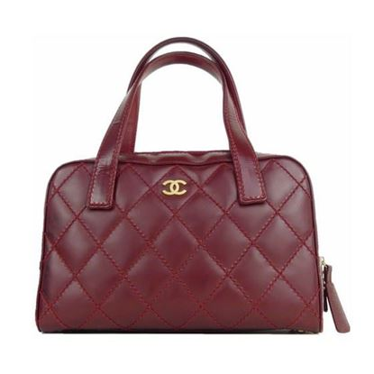 Image of CHANEL burgundy wild stitch bowlingbag