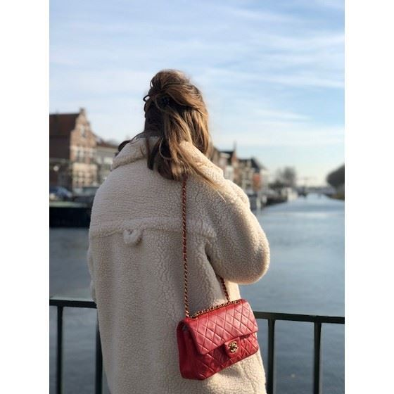 Picture Of Chanel Small 2 55 Red Double Flap Bag