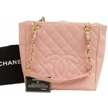 Image of Chanel PST shopping tote bag in pink caviar leather
