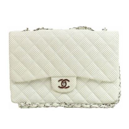 Image of Chanel jumbo timeless 2.55 white lambskin  flap bag