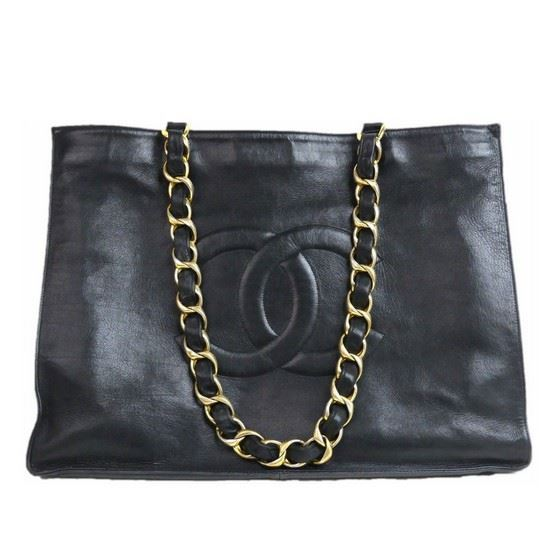 Picture of CHANEL Black Lambskin Leather  Grand Shoulder Shopper Tote Bag with big chain