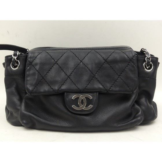 Picture of Chanel ziptop black lambskin handbag with silver hardware