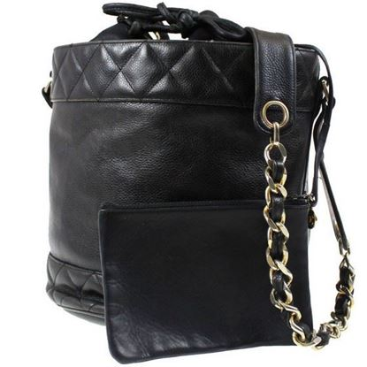 Image of Chanel large black caviar leather drawstring bucketbag with pouch.