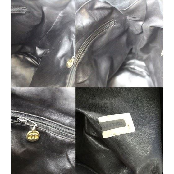 Picture of Chanel large black caviar leather drawstring bucketbag with pouch.
