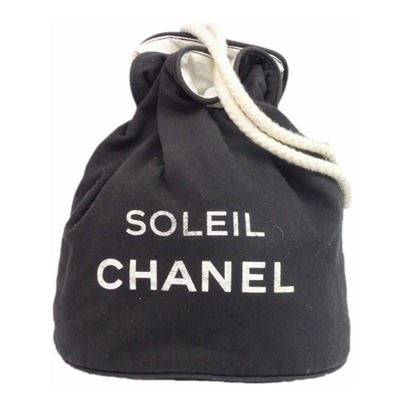 Image of Special piece:  CHANEL SOLEIL Black Cotton CC Logo Drawstring Shoulder Bag