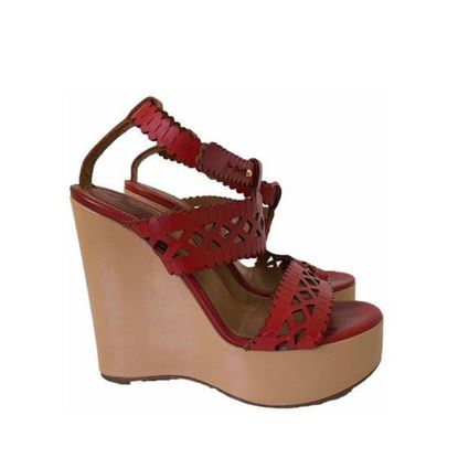 Image of Chloe red lasercut leather wedges