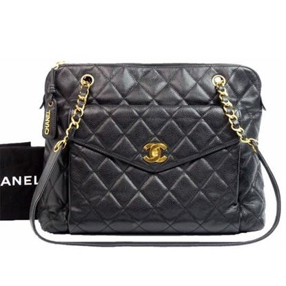 Image of Chanel black caviar skin zip top tote shopper bag