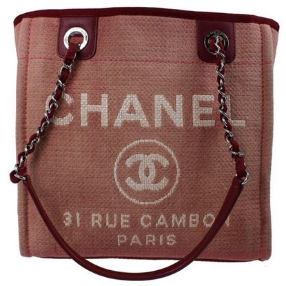 Image of Chanel Deauville tote bag in red/rose pink
