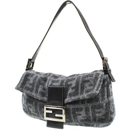 Image of Fendi Zucca Pattern Gray Wool  Mamma hobo Baguette shoulder bag