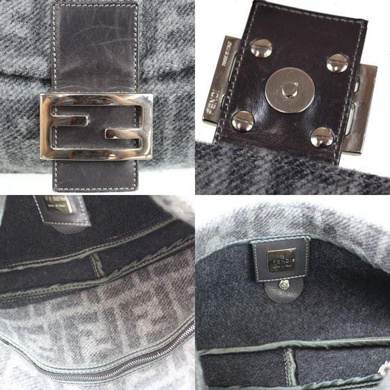 Picture of Fendi Zucca Pattern Gray Wool  Mamma hobo Baguette shoulder bag