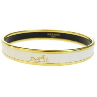 Image of HERMES White Enamel Logos Gold  Narrow Bangle bracelet