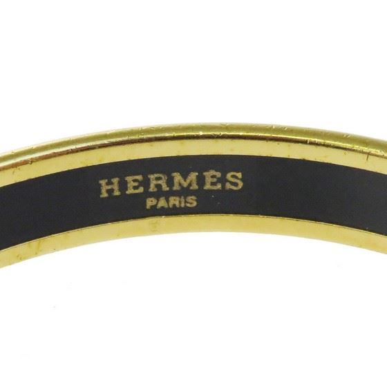 Picture of HERMES White Enamel Logos Gold  Narrow Bangle bracelet