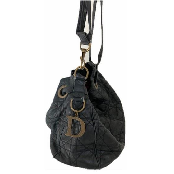 Picture of Dior cannage black drawstring tote bag