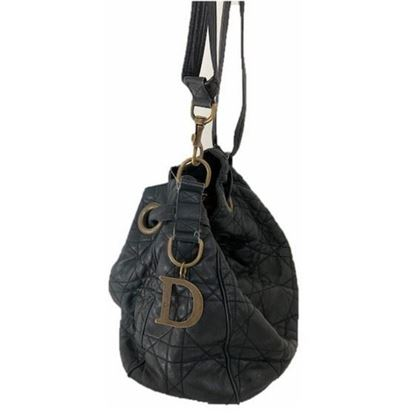 Image of Dior cannage black drawstring tote bag