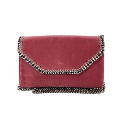Image of STELLA MCCARTNEY 'Falabella'  pink velvet crossbody bag