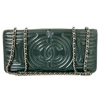 Image of Chanel dark green patentleather bag with silver hardware