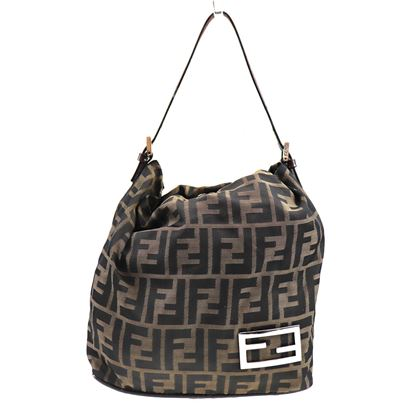 Image of Fendi logo canvas leather bag