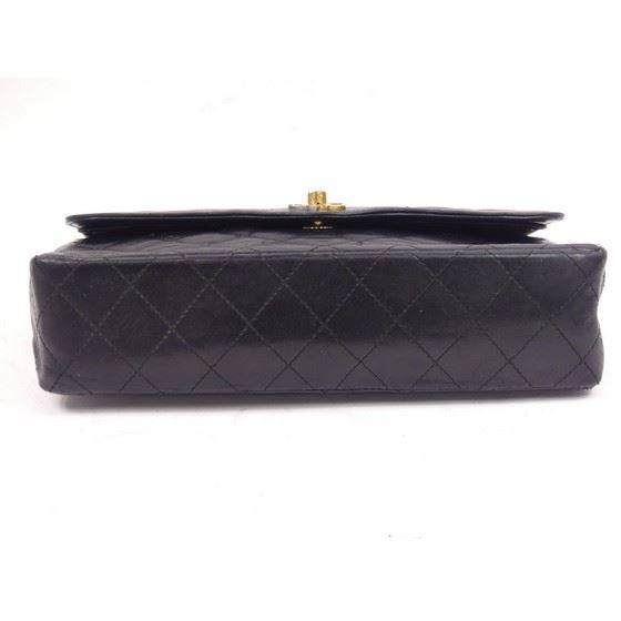 "Picture of Chanel black medium double flap bag ""Paris"" limited edition"