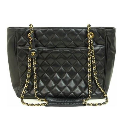 Image of Chanel black ziptop charm shopper tote bag