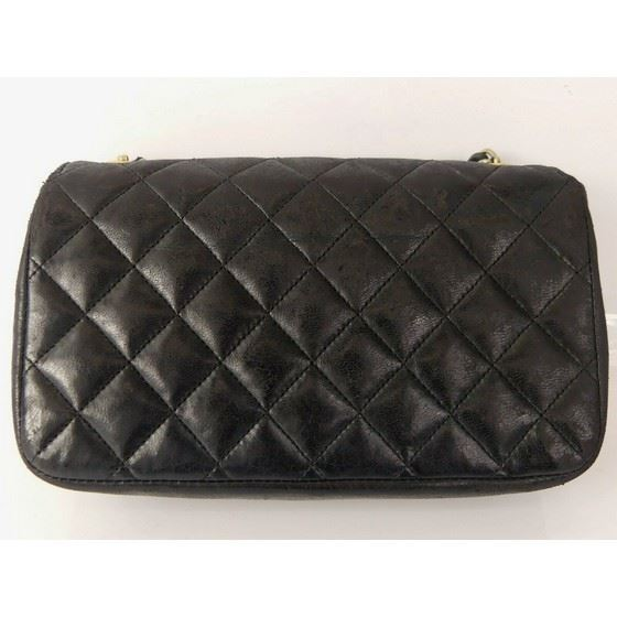 Picture of Chanel timeless 2.55 mini rectangular in black lambskin with gold hardware