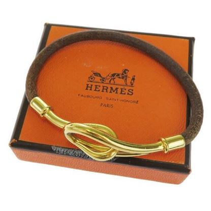Image of HERMES jumbo gold hook bracelet brown leather