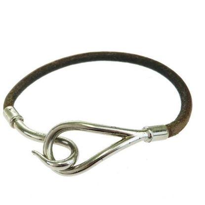 Image of HERMES jumbo silver hook bracelet brown leather