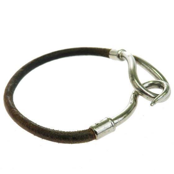 Picture of HERMES jumbo silver hook bracelet brown leather