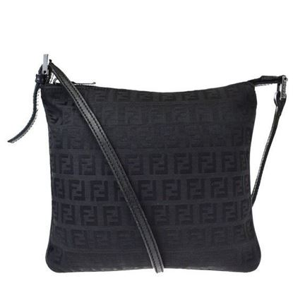 Image of Fendi logo canvas leather crossbody bag