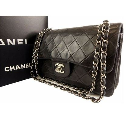 Image of Chanel  timeless 2.55  double flap bag with silver hardware