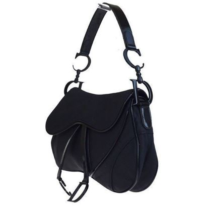 Image of Christian Dior medium double saddle bag, all black