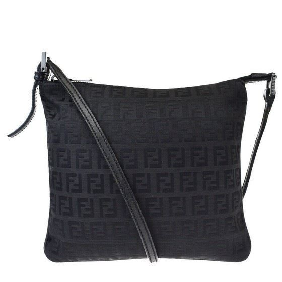 Picture of Fendi logo canvas leather crossbody bag