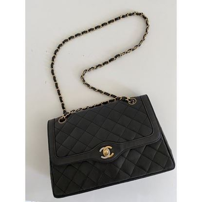 "Image of Chanel black medium double flap bag ""Paris"" limited edition"